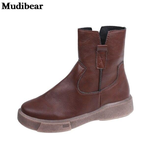 женские кожаные ботинки mudibear черные на плоской платформе фотография