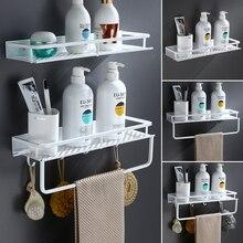 Beyaz banyo rafı uzay alüminyum duş sepeti köşe rafları banyo şampuanı tutucu mutfak depolama raf aksesuarları