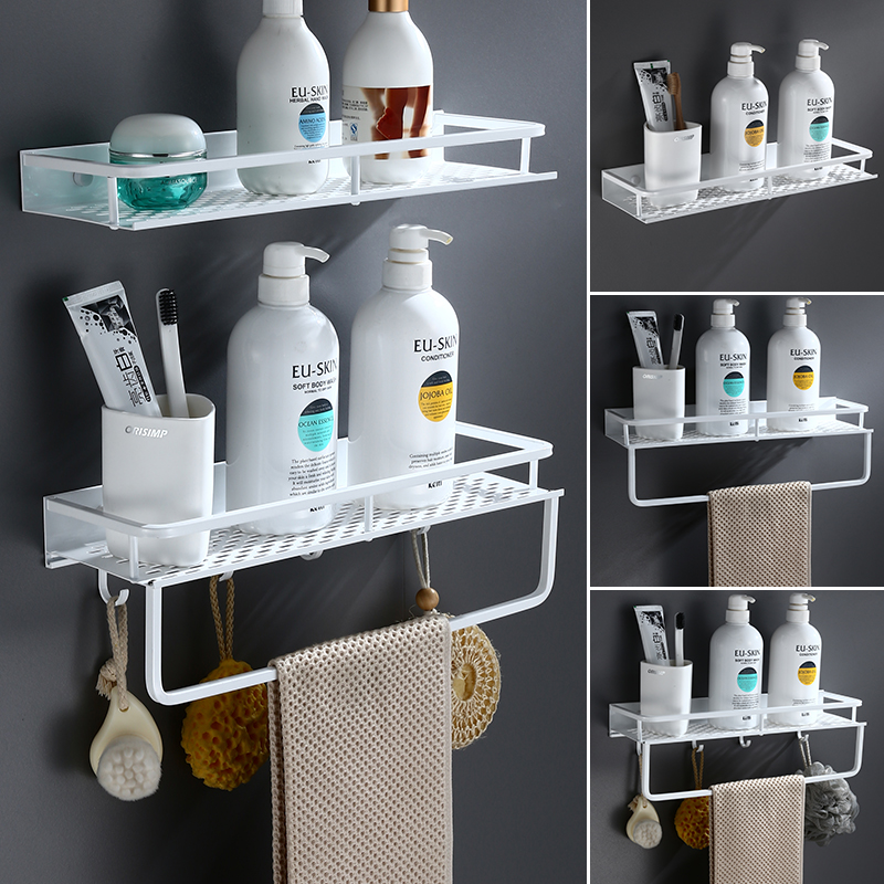 White Bathroom Shelf Space Aluminum Shower Basket Corner Shelves Bathroom Shampoo Holder Kitchen Storage Rack Accessories