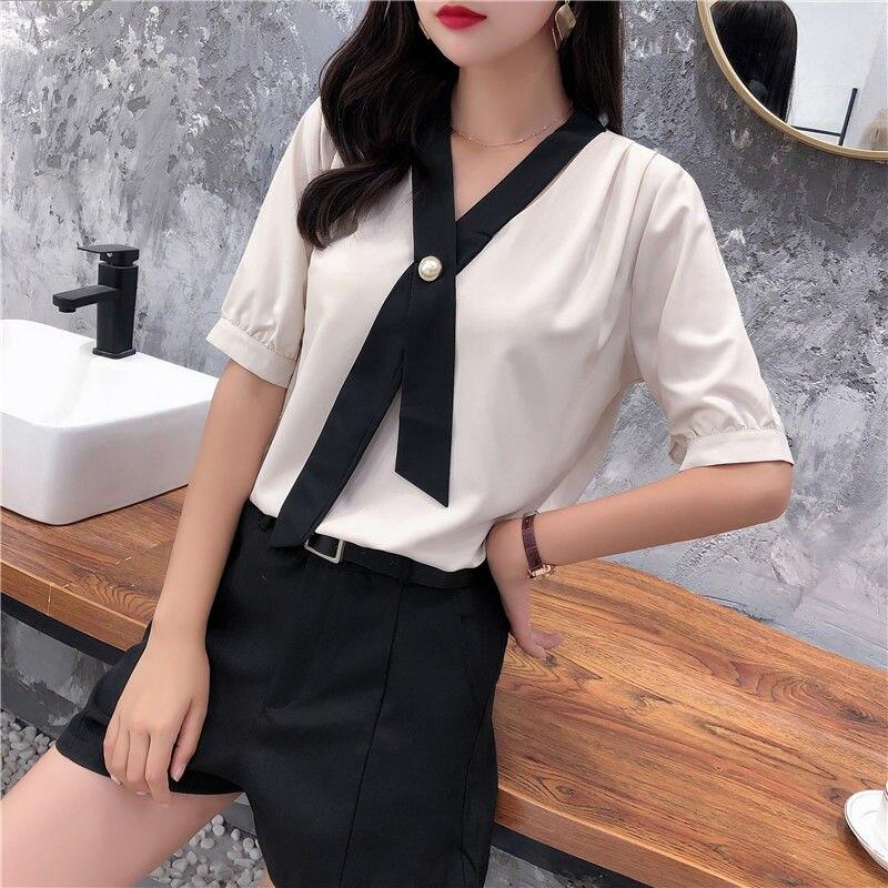 Women's Spring Summer Style Chiffon Blouse Shirt Women's Patchwork V-neck Short Sleeve Ruffles Elegant Temperament Tops DD8443 7