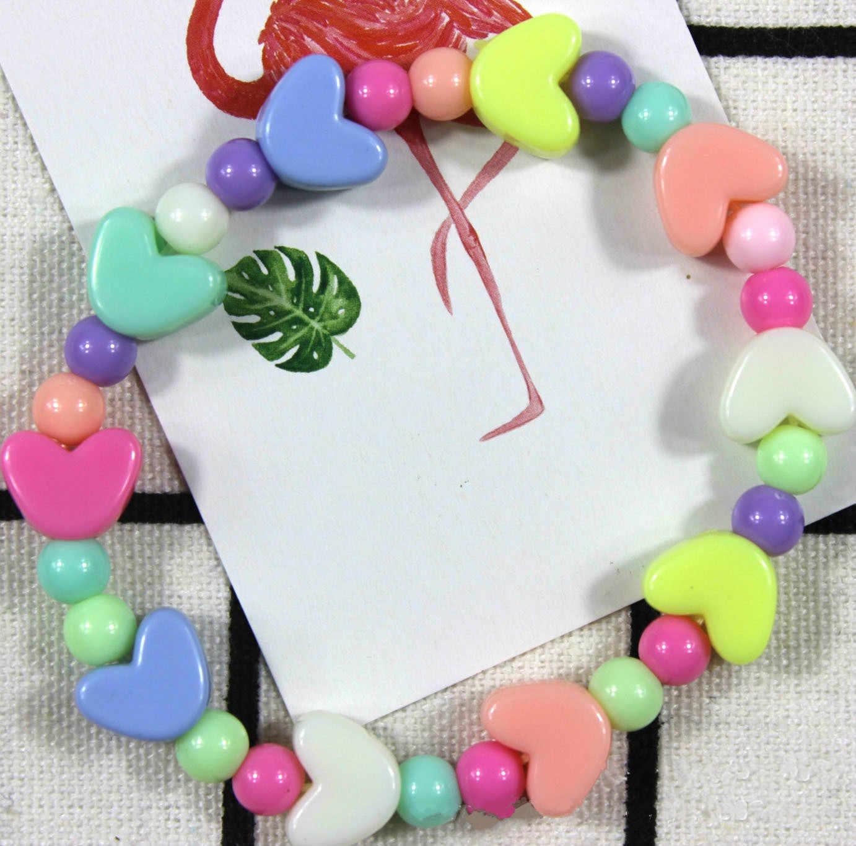 Estilo verão crianças bonito doce colorido dos desenhos animados coração acrílico pulseira para festa de aniversário da menina jóias presente atacado