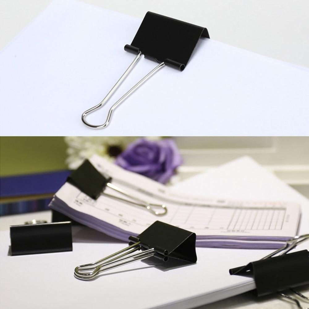 40pcs/lot Black Color Metal 19mm Small Size Binder Clips Long Tail Clips School Office Shop Stationary