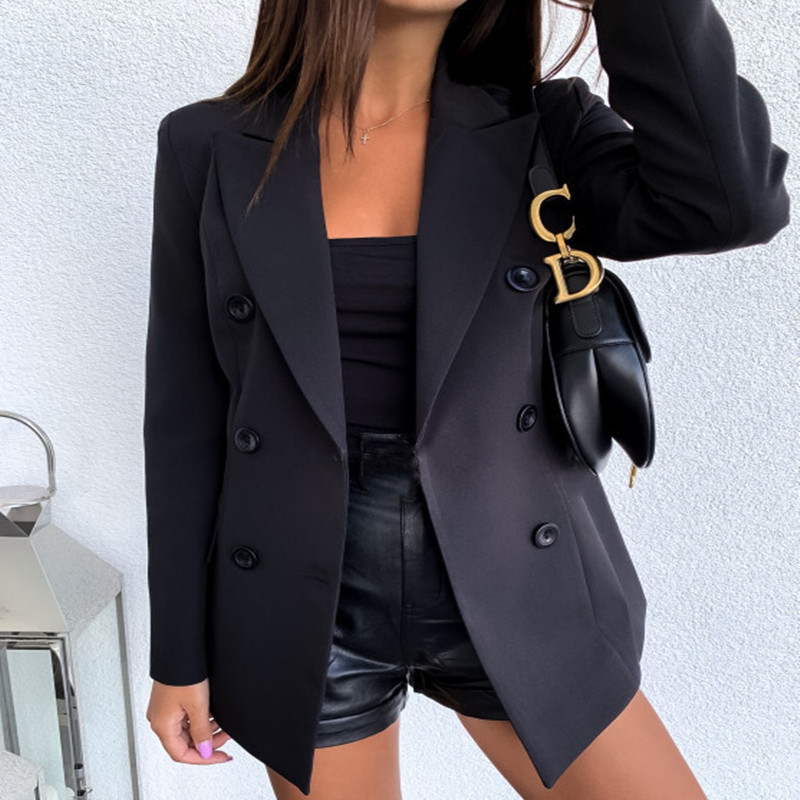 New Spring Autumn Hot Sales Women Blazers Plus Size Fashion Vestido Solid Double Button Small Blazers For Women Larger Outerwear