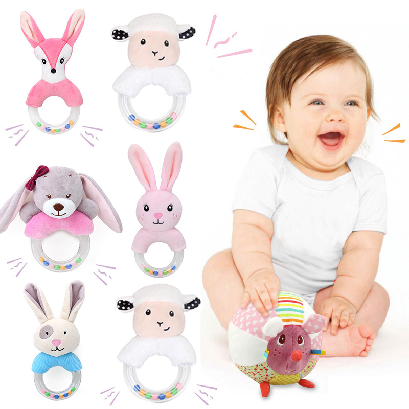 <font><b>New</b></font> <font><b>Born</b></font> Baby plush rattle <font><b>Toys</b></font> Bell Bed infant Stroller Hanging Bell Educational Rattle <font><b>Toys</b></font> cute animal Styles Soft <font><b>Toys</b></font> Gift image