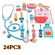 24 PCS Classic Kids Wooden Doctor Toys Nurse Injection Medical Role Play Simulation Pretend with Suitcases