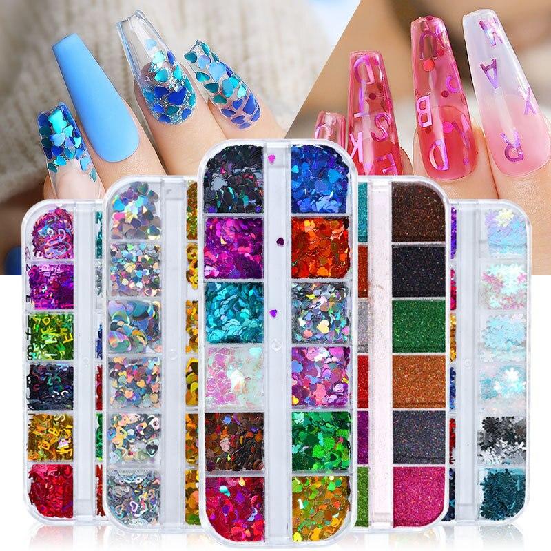 12 grades/conjunto misturado prego glitter flocos 3d lantejoulas paillette em pó charme decoração da arte do prego manicure ferramentas polonês manicure prego
