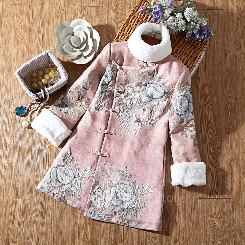Women Cheongsam Dress Jacket Chinese Style New Year Celebration Party Qipao Flower Embroidery Fleece Cotton Classic Clothes Coat