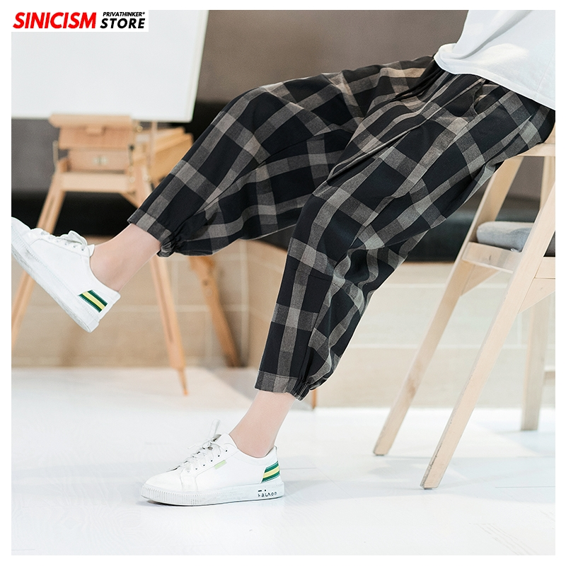 Sinicism Store Summer Loose Harem Pants Men 2020 Cotton Linen Plaid Fitness Mens Trousers Breathable 5XL Chinese Style Pants Man
