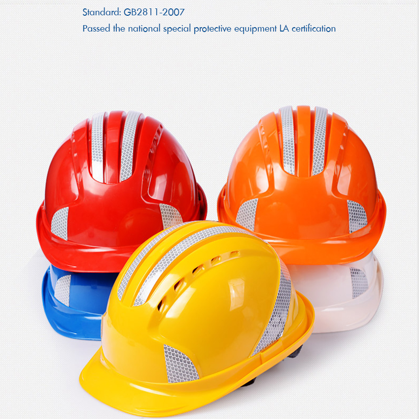 Reflective Strip Safety Helmet Cap Style Vented Hard Hat, 4-Point Ratchet Suspension, Protective Helmet for Construction Worker