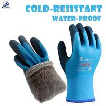 Luvas de trabalho térmico de veludo resistente a frio-30 graus de pesca de armazenamento frio unisex usar à prova de vento de baixa temperatura esporte ao ar livre