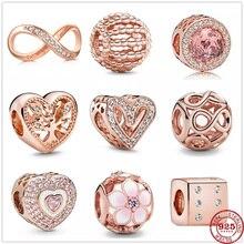 Подлинный оригинальный 925 стерлингового серебра ажурные Семья дерево шарма сердца розовая бусина золото, соответственные Пандоре обаятель...