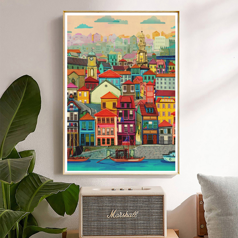 Colorful House By The Water Vintage Poster City Landscape Nordic Art Canvas Print Painting Wall Picture Modern Home Decoration