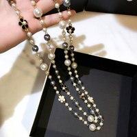 Mode Classique Double Couches Simulé Perle Collier Pour Les Femmes Bijoux De Luxe Bijoux Collier Long Beaux Cadeaux Pour Mère