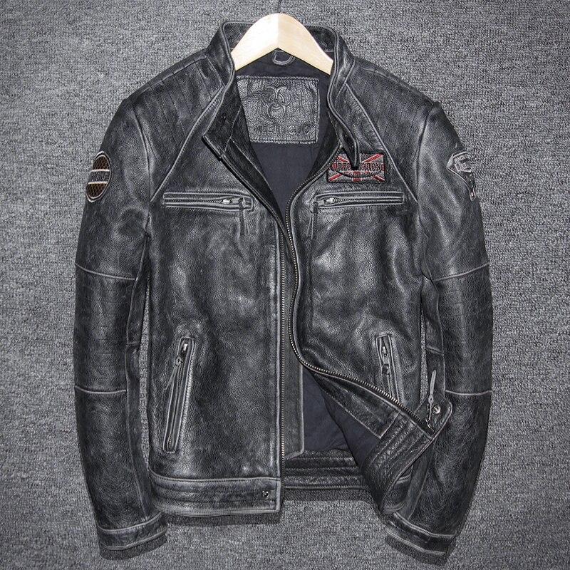 Vintage Genuine Leather Jacket Men Cow Leather Jacket Korean Motorcycle Slim Mens Leather Jacket Jaqueta De Couro 5680-1 YY999