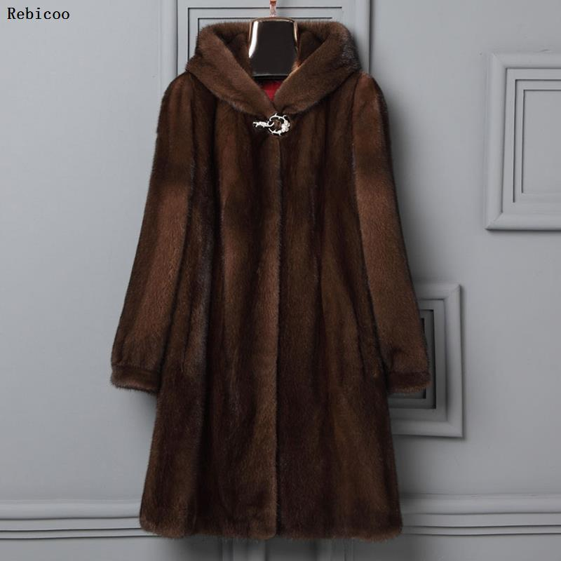 2019 New Woman Fur 90cm Plus Size Women Clothing Winter Artificial Economy Mink Fur Coat With A Hood Luxury Fake Fur Coats