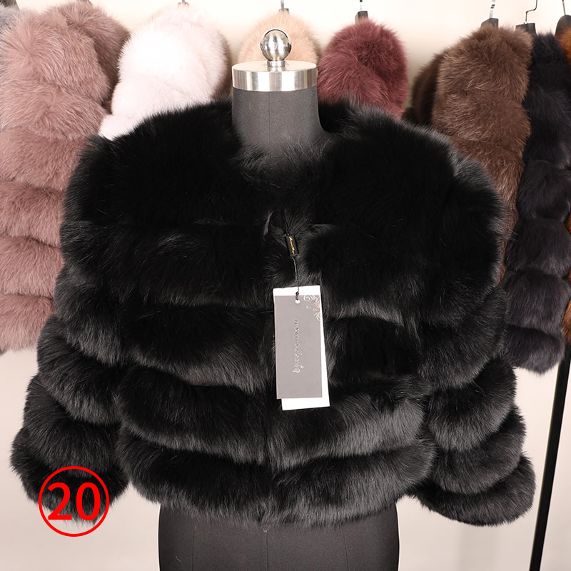 maomaokong 50CM Natural Real Fox Fur CoatWomen Winter natural fur Vest Jacket Fashion silm Outwear Real Fox Fur Vest Coat Fox 38
