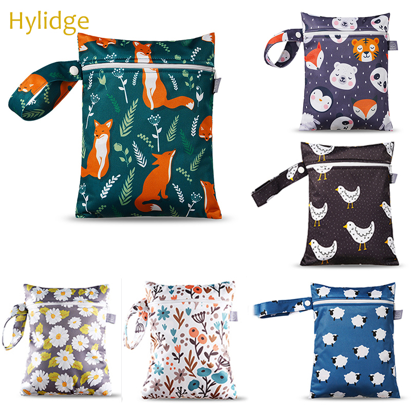 Hylidge Printed Nappy Diaper Bag Waterproof PUL Wet Bag Reusable Snack Bag 18*25CM Small Maternity Bag For Stroller Mommy Bag