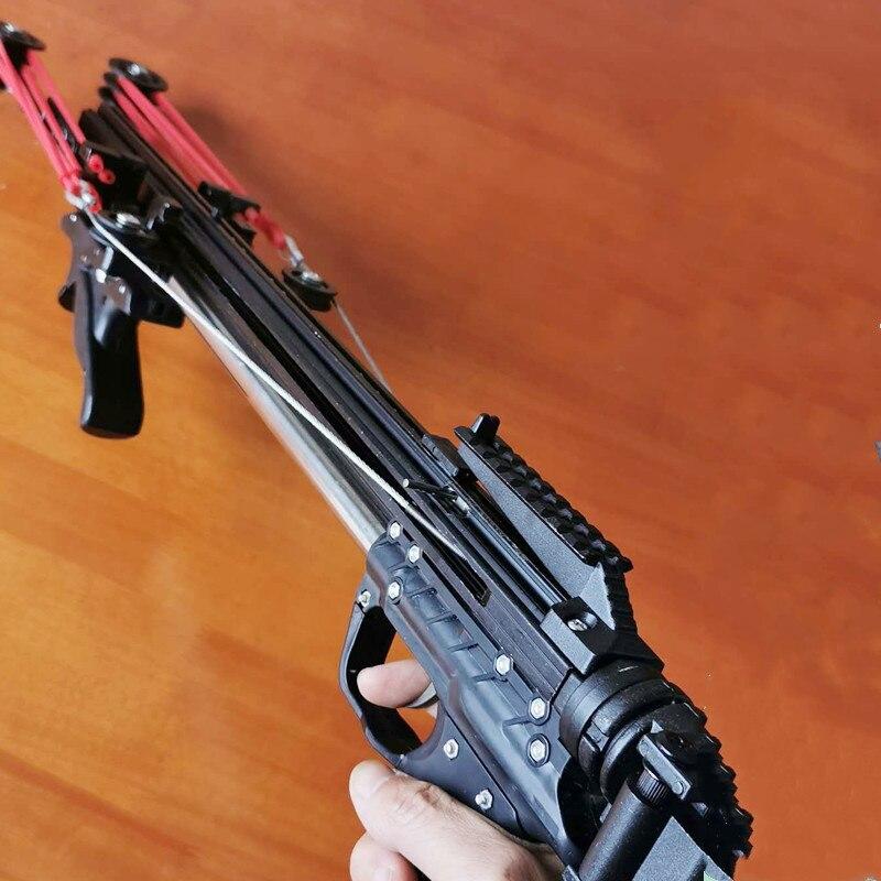 ที่มีประสิทธิภาพฉบับที่สิบกึ่งอัตโนมัติ 40BB Slingshot ปืนไรเฟิล SlingBow Traction ยาง Band เหล็ก Arrow ลูก Basic Edition