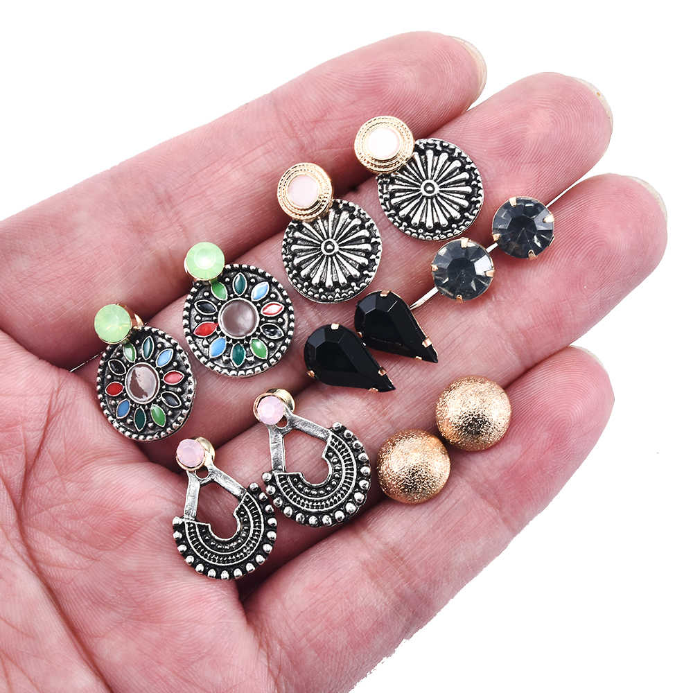 2019 אופנה אלגנטית 6 זוגות\סט נשים של פרל פרח קריסטל הרבעה עגילי בנות אלגנטי רוז פרח לב אוזן תכשיטי מתנה
