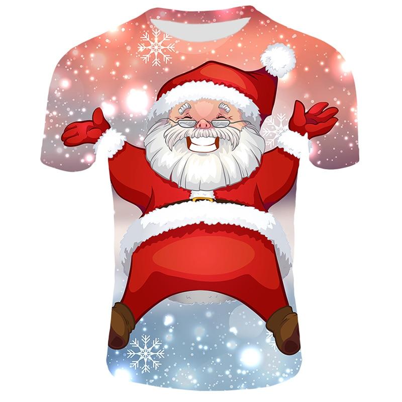 Модные футболки с рождественским узором, мужские Забавные футболки с принтом Санта-Клауса, повседневные 3d футболки, вечерние футболки со снеговиком, одежда с коротким рукавом - Цвет: T29