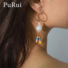 PuRui Boho Colorful Beads Imitation Pearl Earrings Long Tassel Drop Earrings Bohemian Dangle Earrings for Women Fashion Jewelry(China)