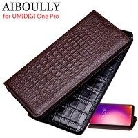 AIBOULLY For UMIDIGI One Pro Case Soft Silicone Back Flip Genuine Leather Cover For UMIDIGI One Case Hard Fundas Phone Bag Capas