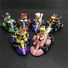 6pcs/set Super Mario Mini Kart Pull Back Cars Luigi Toad Bowser Koopa Donkey Kong Princess Peach Figure model Toys