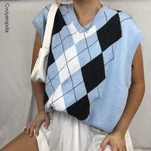 E-girl Argyle – gilet tricoté sans manches pour femme, col en V, Style Preppy bleu, haut court doux à carreaux