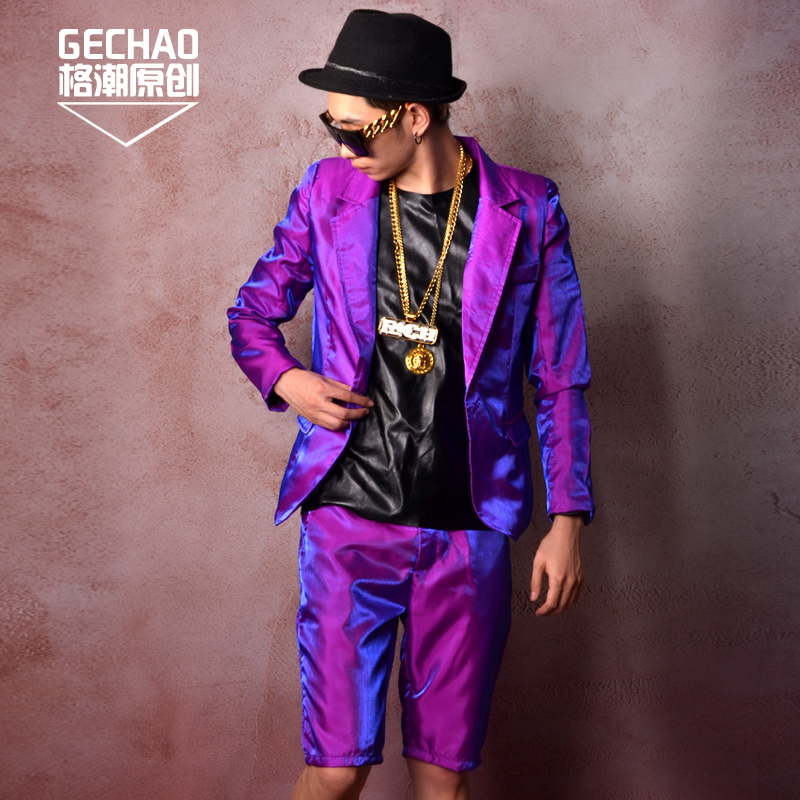 Custom Made( <font><b>Suit</b></font>+ <font><b>Shorts</b></font> )Men's Purple Shiny <font><b>Suit</b></font> Jacket Jacket Nightclub Bar Singer Star DJDS blazer Stage Costumes Plus SizeS image