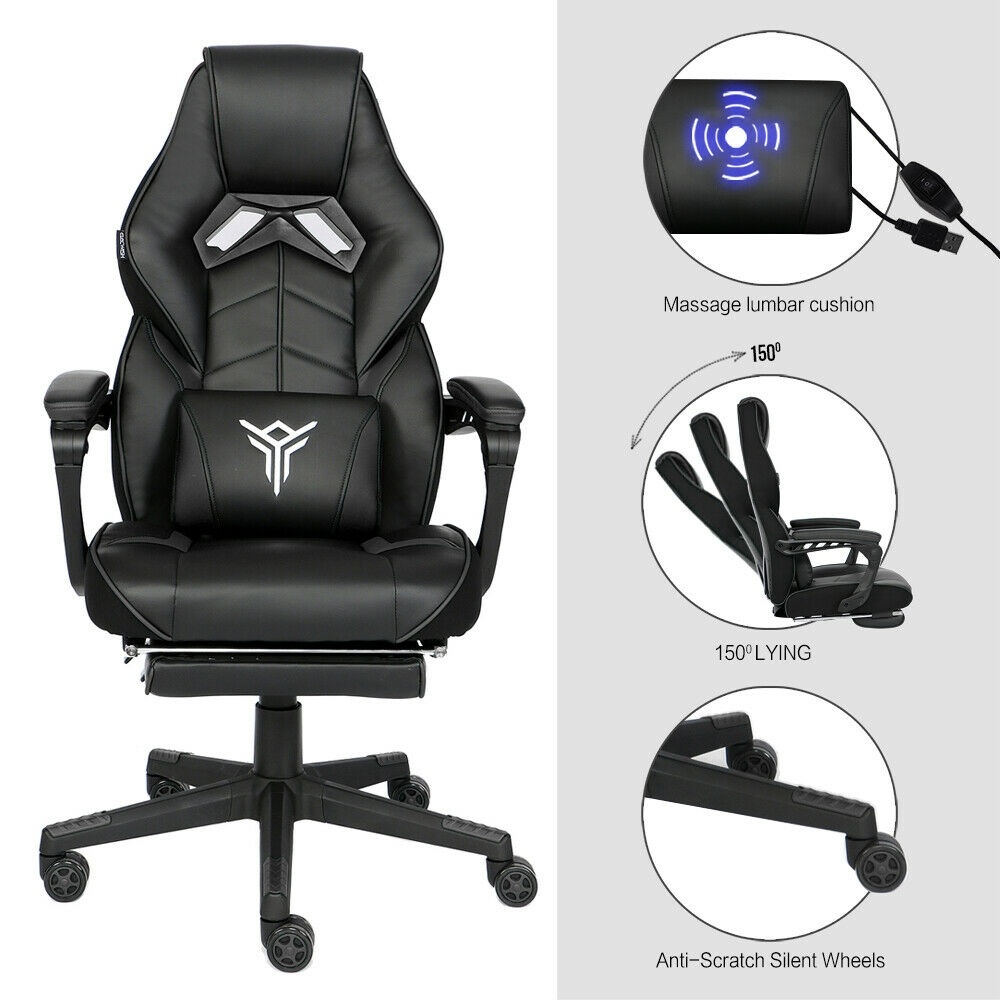 Massage Gaming Racing Chair Computer Seat Swivel Recliner 3D Spine Support