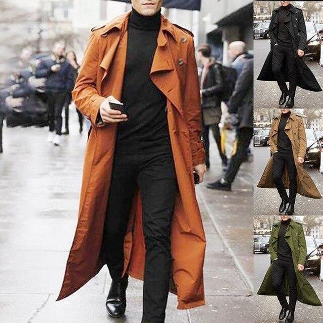 2020 Trench Coat Mens Overcoat Casual Slim Fit Windbreak Plus Size Solid Long Coat Men Fashion Spring Jacket  Homme 3