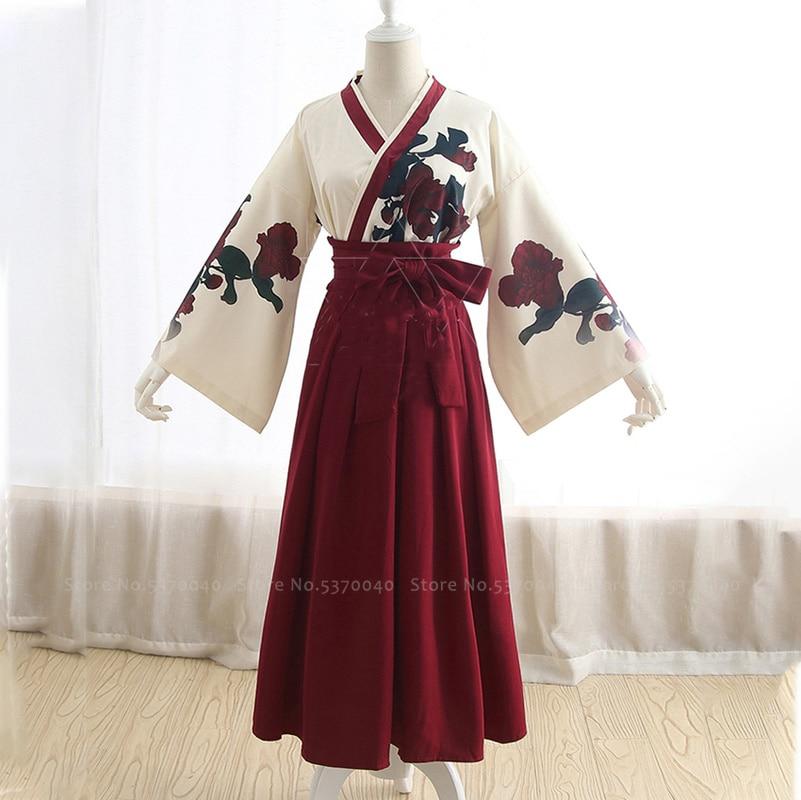 Japanese Style Kimono Party Dress Women Taisho Girl Haori Robes Ao Dai Tops Skirts Outfits Asian Clothes Anime Cosplay Costumes