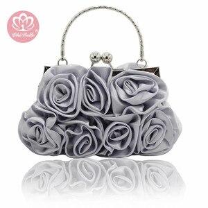 Высококачественная атласная сумка с цветами, ручная работа, 14 роз, вечерняя сумка, клатч, атласная ткань, платье, вечерняя сумочка, свадебная...