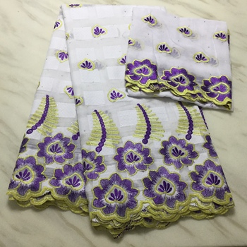 Embroidery Swiss Voile Lace Fabric Swiss Cotton Fabrics white purple African print Cotton Voile Lace fabric 7yards FP1210