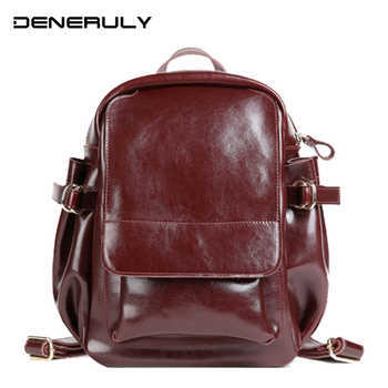 Women New Luxury Backpack Genuine Leather Travel Mochilas Mujer 2019 For Teenage Girls Vintage High Quality Morrales Para Mujer - DISCOUNT ITEM  40 OFF Luggage & Bags