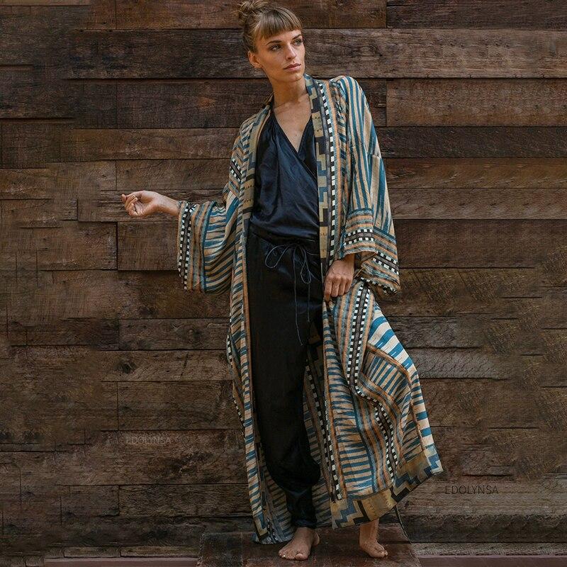 Bohemian Printed Bikini Cover-ups Elegant Self Belted Kimono Dress Tunic Women Plus Size Beach Wear Swim Suit Cover Up Q1228 1