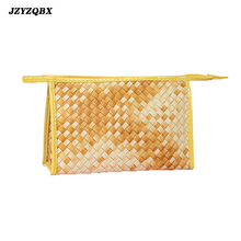 Female Cosmetics Bag Golden Yellow Cosmetic Bamboo Weaving Toiletry Professional Makeup necessarie feminina