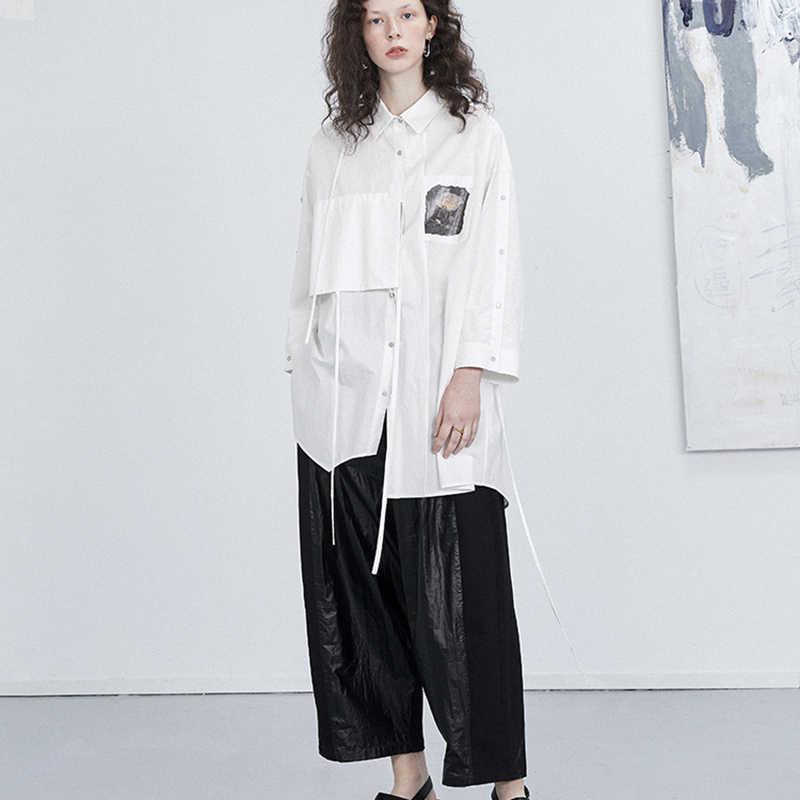 [EAM] высокий комплект пуловер + кожаная юбка большой размер карман юбка-брюки новые свободные брюки женские модные весна осень 2019 1A024