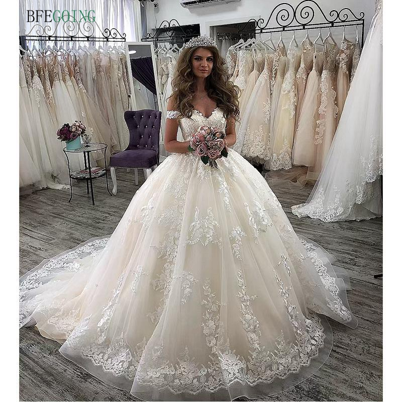 Ivory Lace Appliques V-Neck Off The Shoulders  Floor-Length Ball Gown Wedding Gown Bridal Dress Chapel Train Custom  Made