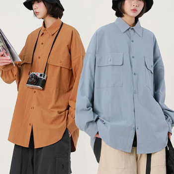 Shirts Women Solid Korean Style Long Elegant Simple Harajuku Loose Female Leisure Students Streetwear Blouses Womens Pockets New