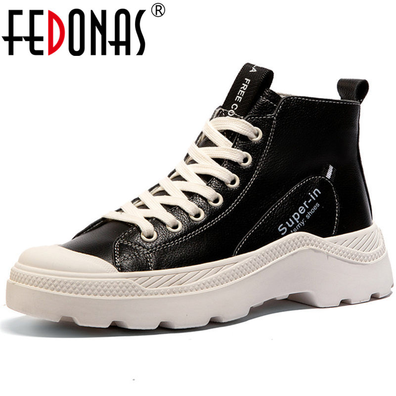 FEDONAS Fashion Women Flats Sneakers Genuine Leather Corss-tied Casual Shoes Woman Round Toe Student Shoes Flats
