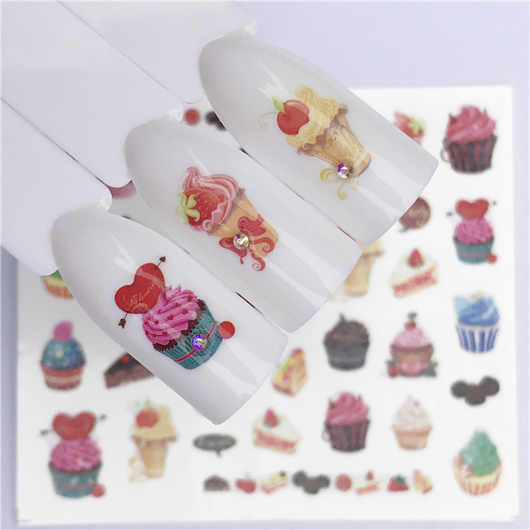 1 Pc  Blooming Flower Water Transfer Decals Delicious Cake Slider Water Transfer Nail Stickers Nail Art Tattoo Wraps