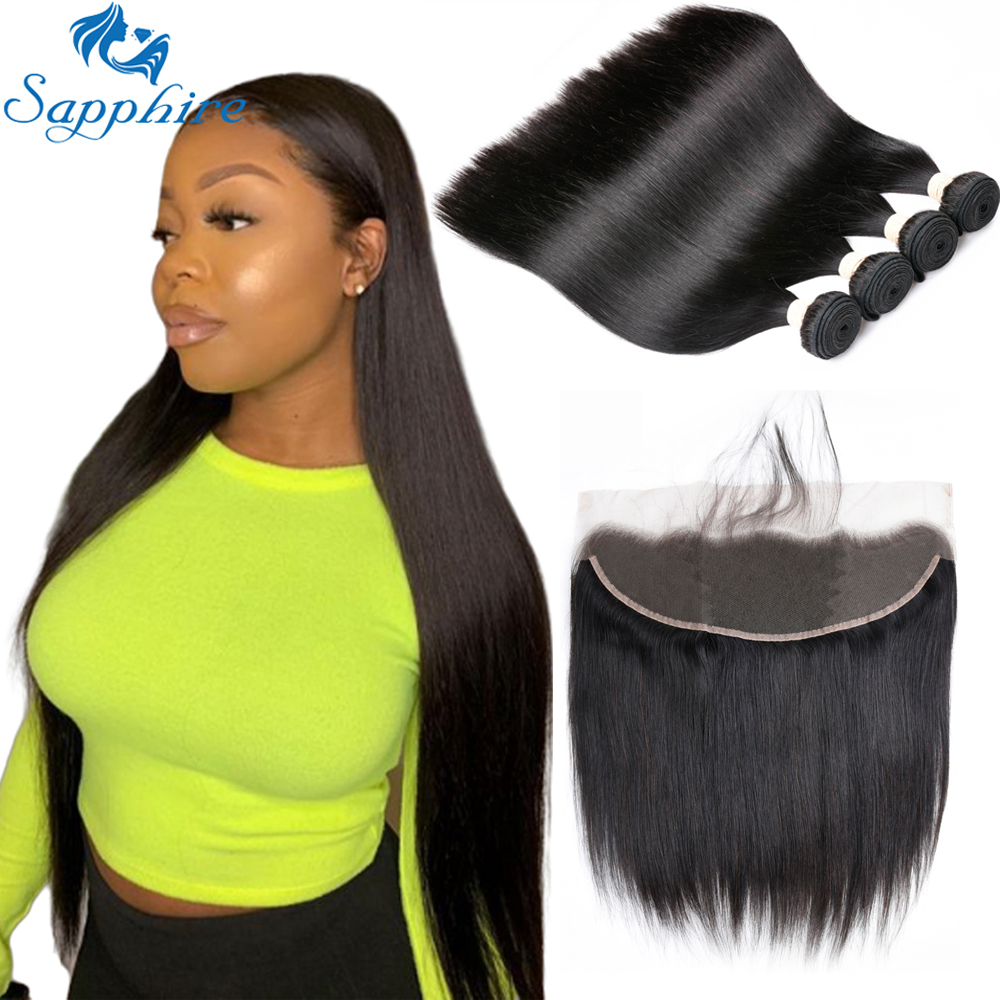 Peruvian Straight Hair Bundles With Frontal Sapphire 100% Remy Human Hair 4 Bundles With Closure 13*4 Frontal With Bundles