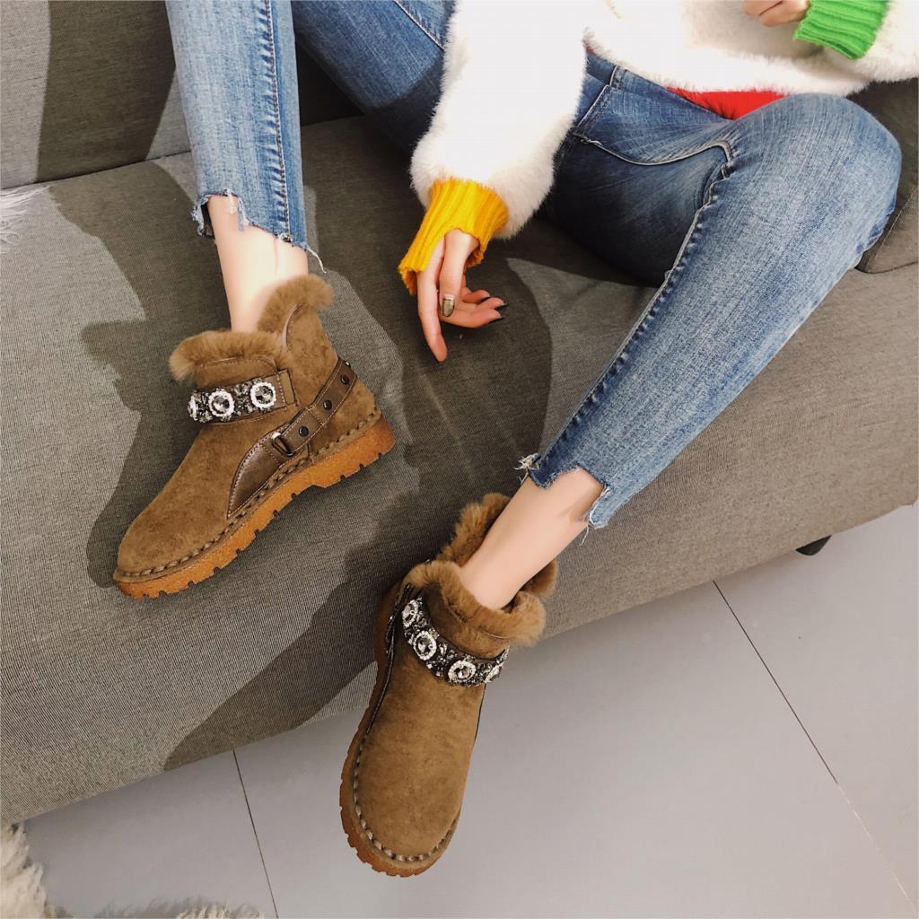 Flat bottom plus velvet warm cotton shoes snow boots women short tube 2019 platform casual boots winter out fashion short boots 37