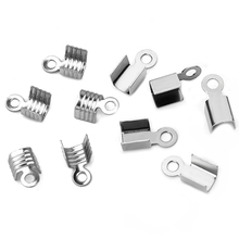 200pcs Stainless Steel Cove Clasps Cord End Caps String Ribbon Leather Crimp Bead Connectors For Jewelry Making DIY Supplies 400pcs lot cord end caps string leather clip tip fold crimp bead connectors cove clasps foldover for jewelry making diy supplies