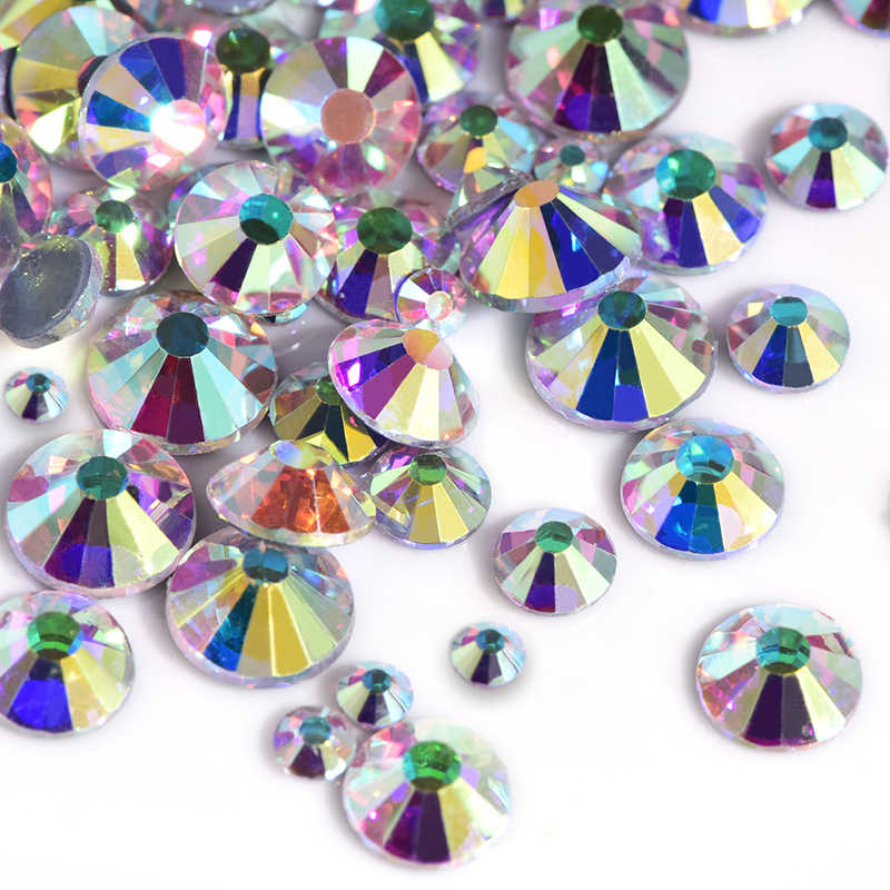 1440 Pcs Crystal Ab Glas Hotfix Strass Vele Maten Hoge Kwaliteit Hot Fix Strass SS16 SS20 Ijzer-On Strass diamant B3318