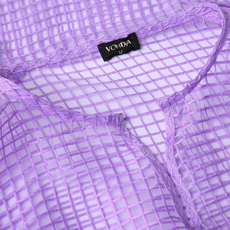 VONDA Plus Size Vrouwen Mesh Blouse Sexy Hollow Out Lantaarn Mouw Tops Elegante Dames Shirts Met Sjaal 2019 See Through blusas
