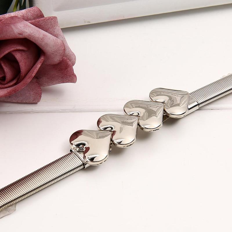 Women Fashion Design Solid Belts For Dress Ladies Gold Silver Love Pattern Belt Female Luxury Belts Chain Stretch Elastic Belt