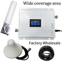 2g 3g 4g triplo banda telefone celular impulsionador de sinal gsm 900 lte 1800 wcdma 2100 mhz celular móvel repetidor de sinal antena conjunto capa