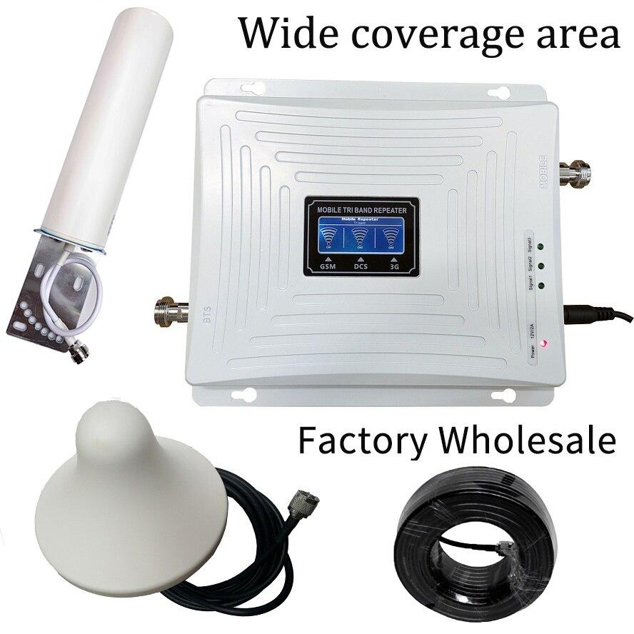 Amplificador de señal de teléfono celular de banda Triple 2G 3G 4G GSM 900 LTE 1800 WCDMA 2100 mhz, conjunto de cubierta de antena de repetidor de señal móvil